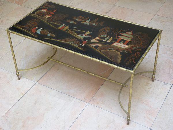 laque bronze table basse de salon antiquaire