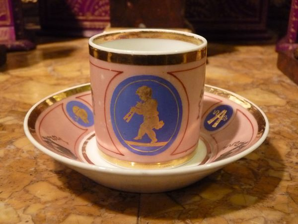 tasse litron porcelaine paris decor putti