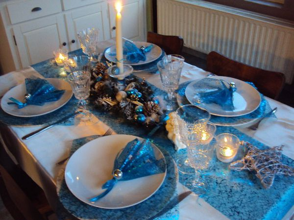 Decoration table noel bleu et argent - Decoration de table de noel argent ...