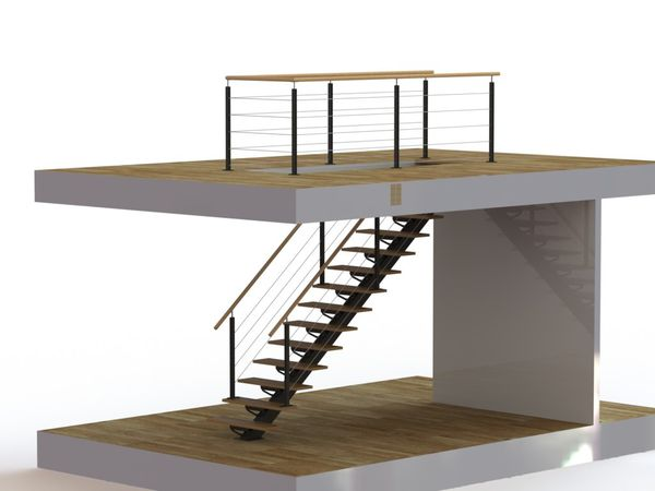 Escalier d 39 int rieur limon central et garde corps for Creer un escalier interieur