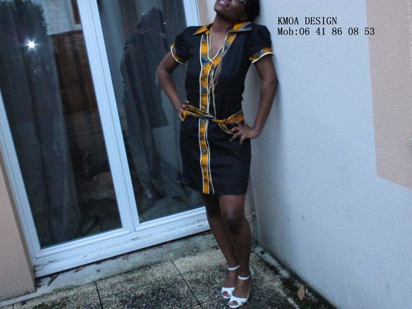 ROBE WAX LIN NOIR ETHNIQUE AFRICAIN