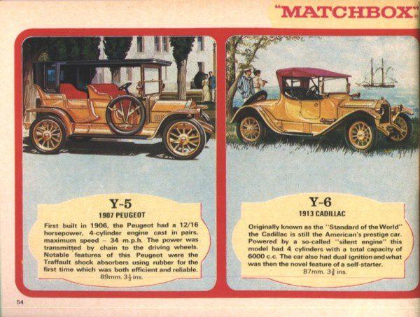 catalogue matchbox 1970 p54 peugeot 1907 cadillac 1913