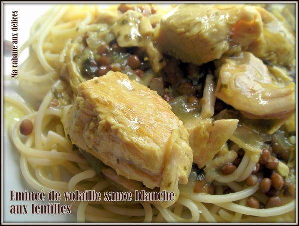 eminces de volaille sauce blanche lentilles photo 2