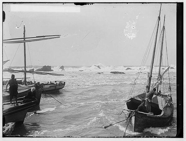 Jaffa (Joppa) and environs. Rough sea at Jaffa approximatel