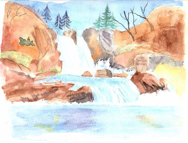 Aquarelle cascade 2