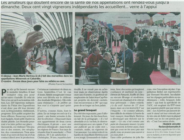 Article paru dans le quotidien nice matin le 03 02 2013 le blog de domaine parazols bertrou - Salon des vignerons independants nice ...