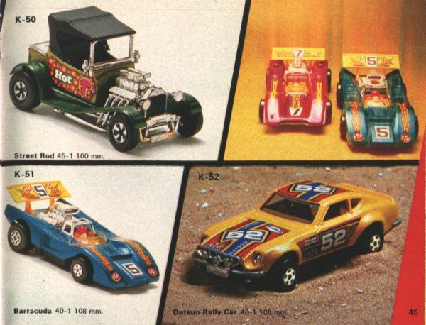 catalogue matchbox 1974-1975 p45 street rod barracuda datsu