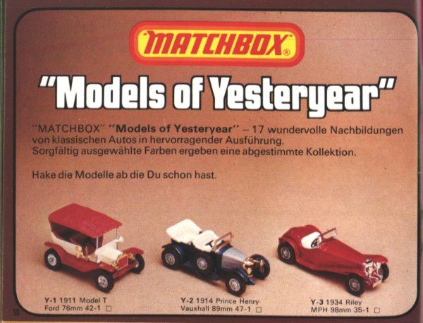 catalogue matchbox 1976 p30 models of yesteryear