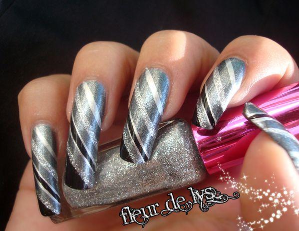 Nail Art Rayures argentées