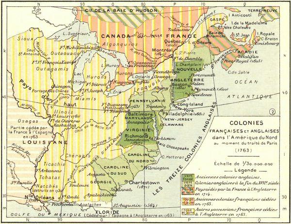 carte colies frnaçaises & anglaises au Traité Paris 1763