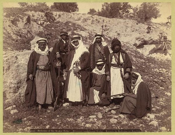Bedouins of the Arakat tribe. Escorte de Bedouins au Jourdain, between 1900 and 1910