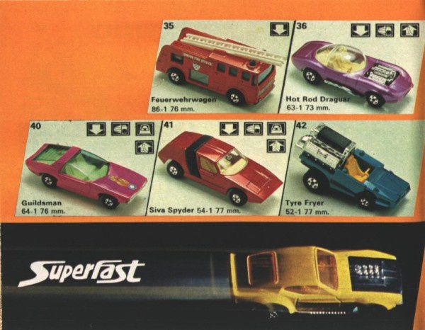 catalogue matchbox 1974-1975 p20 siva spyder tyre fryer