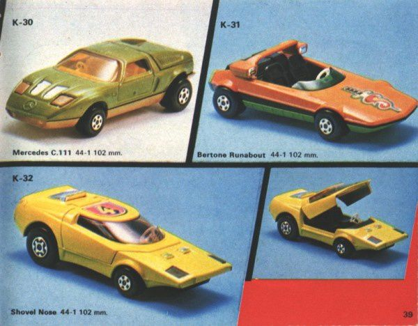catalogue matchbox 1974-1975 p39 mercedes c111 shovel nose