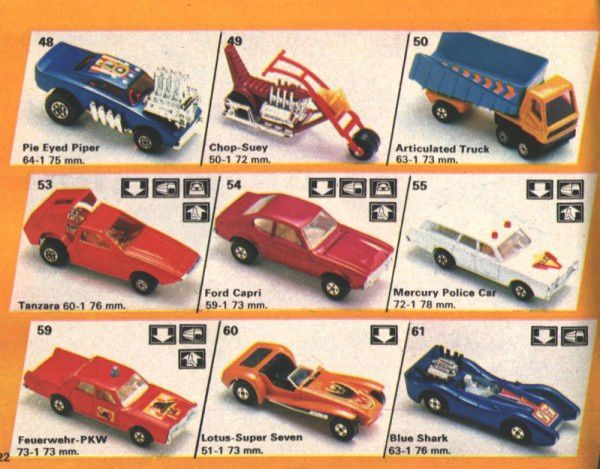 catalogue matchbox 1974-1975 p22 tanzara pie eyed piper cho