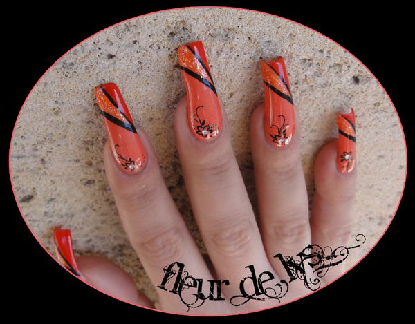 nail art acid tangerine nail art fleur. Black Bedroom Furniture Sets. Home Design Ideas