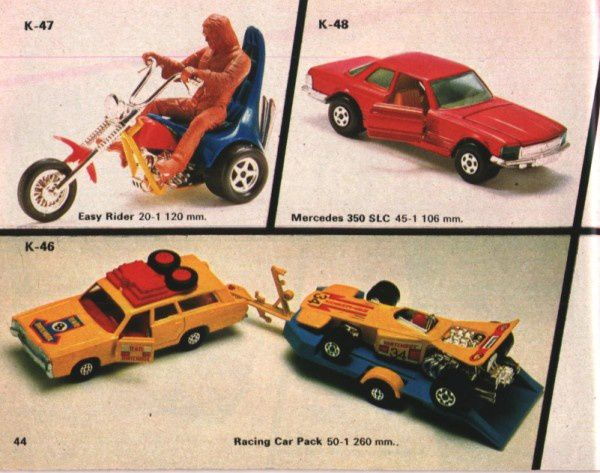 catalogue matchbox 1974-1975 p44 easy rider racing car pack