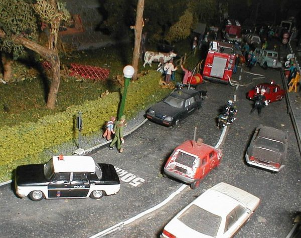 diorama accident pompiers f