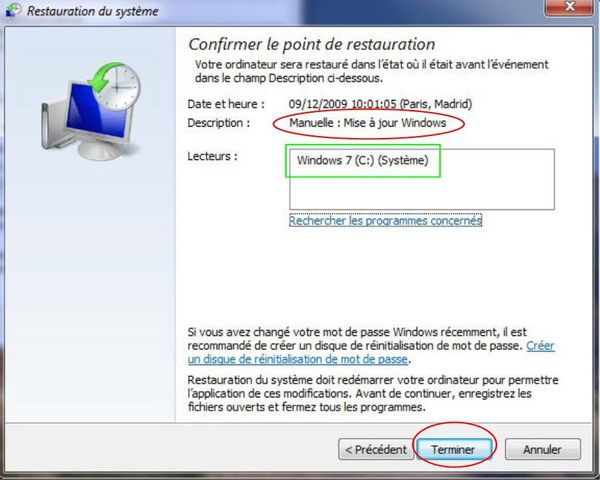 restaurer un point de restauration manuel sous windows7 le de thierry042