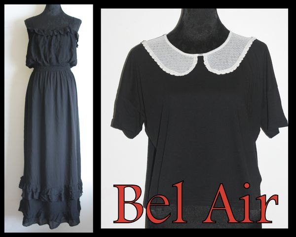 Bel air robe longue th a et top noir avec col claudine blanc mia in te - Vente privee bel air ...