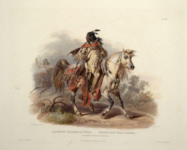 A Blackfoot indian on horseback 0019v