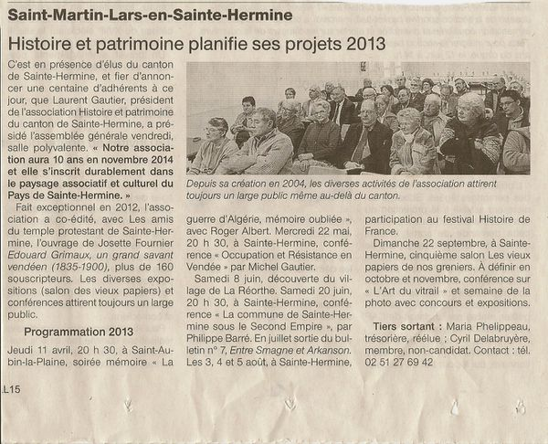 article ouest france AG 2013