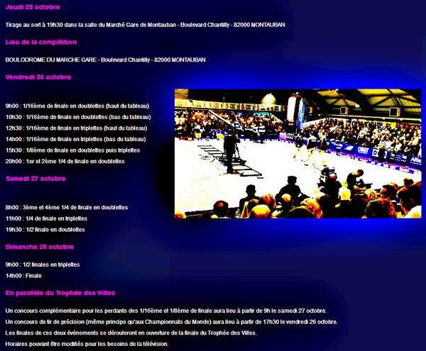 Trophée des Villes 2012 - 26, 27 et 28 novembre à MONTAUB