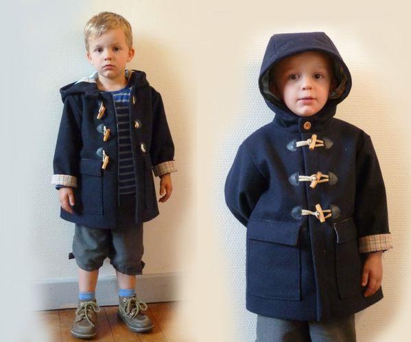 manteau dufflecoat laine caban marine
