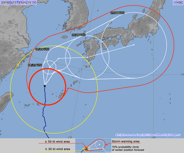 JMA - Typhoon Neoguri - position forecast - 08-07-2014 - 3