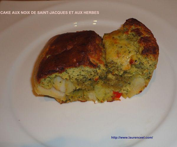CAKE AUX NOIX DE SAINT-JACQUES ET AUX HERBES