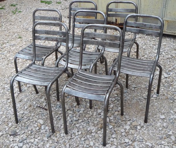 6 chaises metal mini lattes bistrot terrasse vers 1950 mettetal industry design industriel du. Black Bedroom Furniture Sets. Home Design Ideas