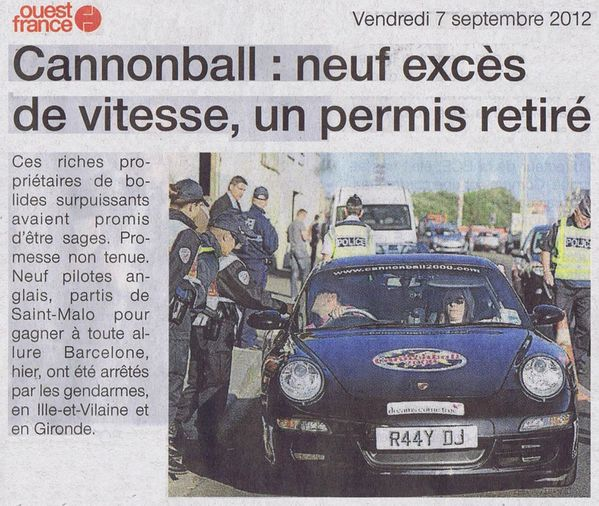 Cannonball 2000- 7 septembre 2012 OF 1