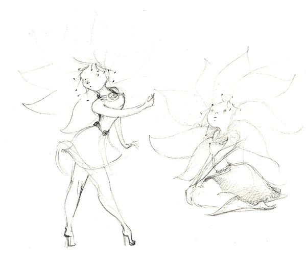 01 croquis fille fleur