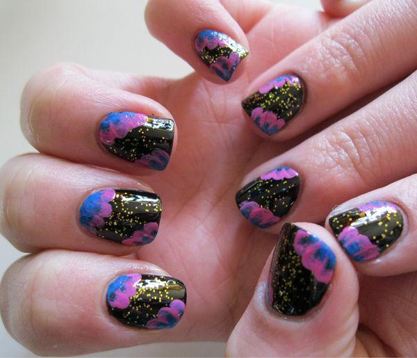 nail art fleurs bleues