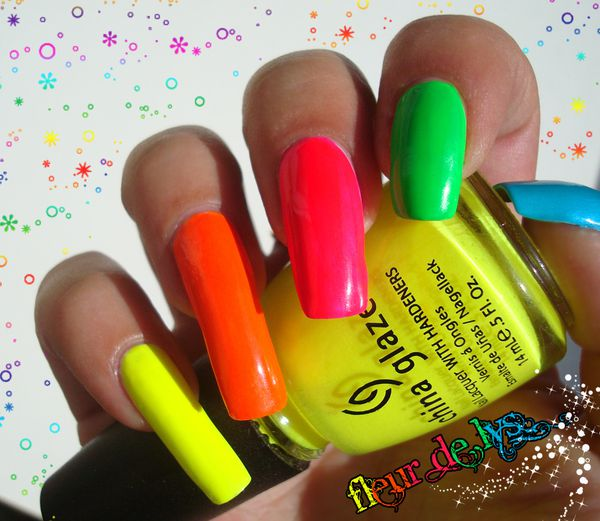 Couleurs flashy sur ongles