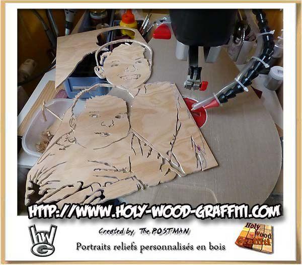 Portrait de deux enfants en cadeau pour des noces de bois - Idee cadeau noce de bois ...