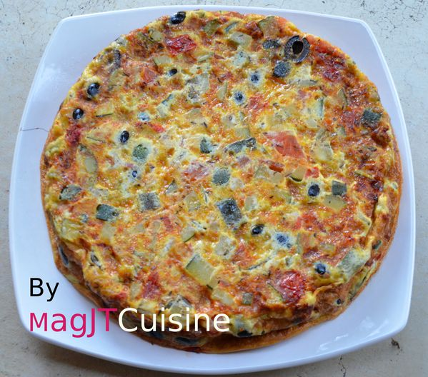 omelette de courgettes, olive 1
