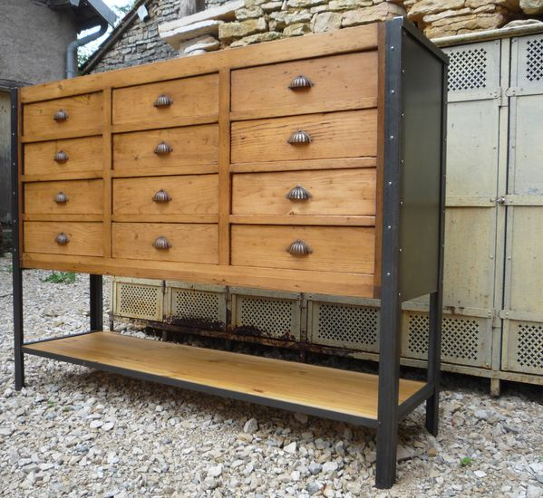 meuble de metier 12 tiroirs 1 plateau sapin sur cornieres 1930 mettetal industry design. Black Bedroom Furniture Sets. Home Design Ideas