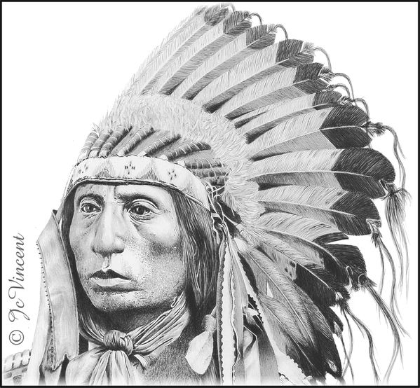 - DESSIN D'INDIEN - Chief Jack Red Cloud - 07