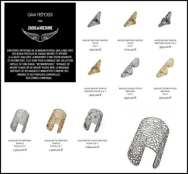 Zadig et Voltaire bijoux collection Gaia Repossi