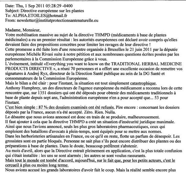Newsletter Santé Naturelle 1er sept 2011 - page 1