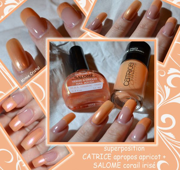 superposition CATRICE apropos apricot + SALOME corail irise