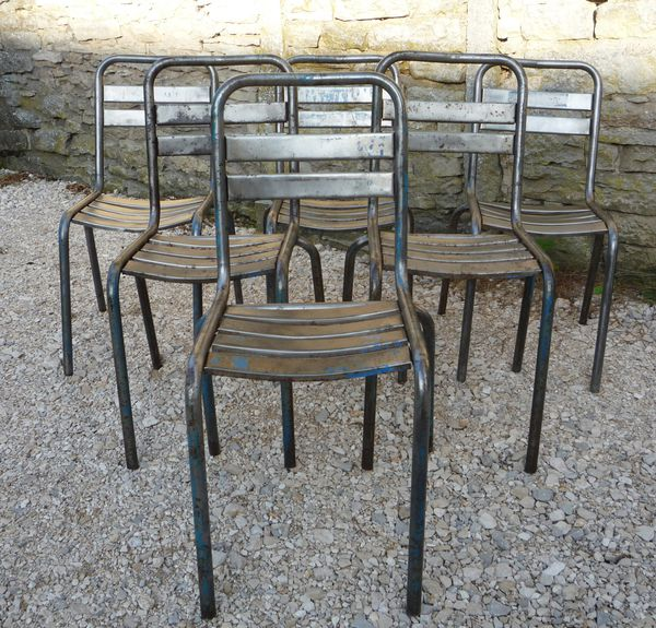 12 chaises metal lattes bistrot terrasse vers 1950 for Chaise bistrot metal