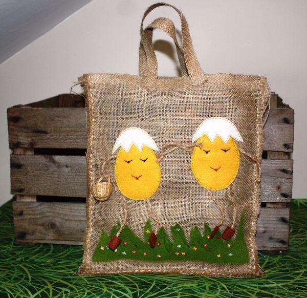 sac rustique en jute pour les oeufs de Päques (6)