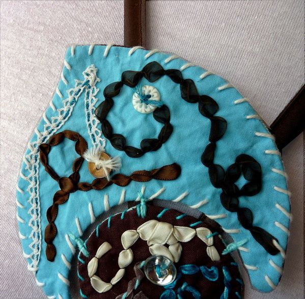 Collier textile turquoise (3)