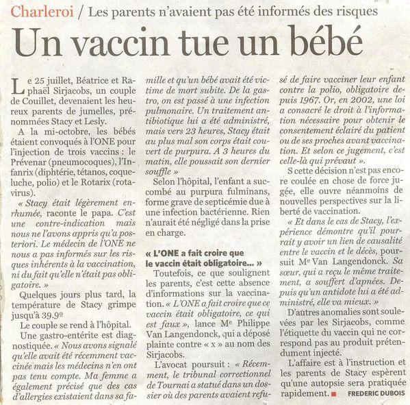 Le Soir 2 déc. 2011, décès suspect d'un bébé à Charle