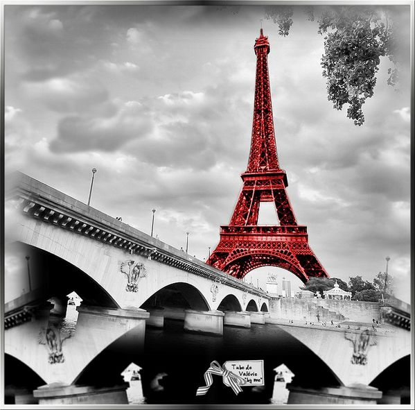 "1257/ tubes paysage paris pont tour eiffel ""marine, orange, mauve"