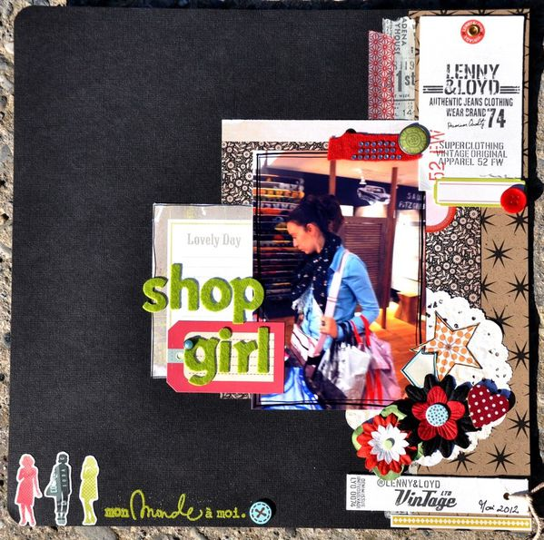 Page de scrapbooking : shop girl