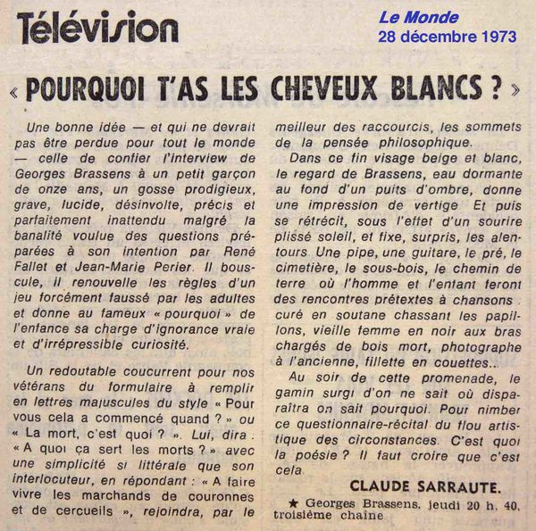 Le Monde, CS, Cheveux blancs
