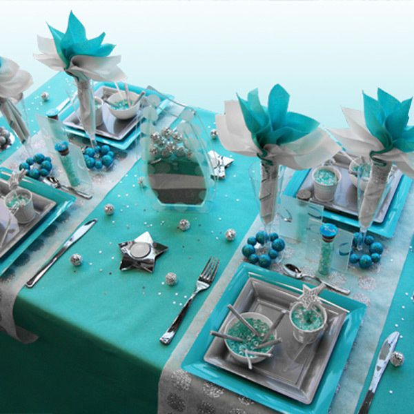 D coration de table turquoise for Modele de decoration