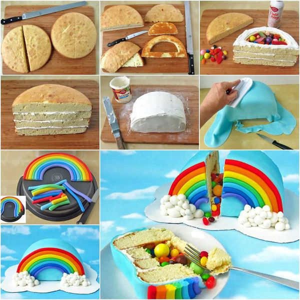 Cake rainbow cake multicolore fourr surprise coccinelle gateau recipe recette r cup recycler - Gateau surprise anniversaire ...